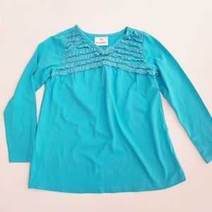 Hanna Andersson Blue Lace Ruffle Top 4T